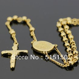 "Wholesale Chain 4mm - Wholesale-STAINLESS STEEL GOLD ROSARY CHAIN NECKLACE(24""+ 5.3"")4mm 22g"