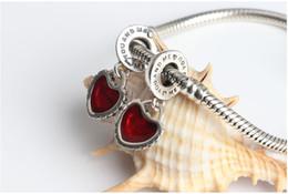 pandora dangle heart heart charm Desconto Authentic 925 Sterling Silver Pedaço De Meu Coração Mãe Filha Dangle Bead com Esmalte Vermelho Serve Para Europeu Pandora Charme Pulseira