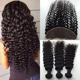 Wholesale Brazillian Deep Wave Human Hair - Brazillian Virgin Hair Deep Wave Brazilian Hair Weave Bundles With Frontal Closure Hair Lace Closure Wet And Wavy Human Hair