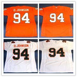 Wholesale Footballs Johnson - Men's 94 DWAYNE JOHNSON CUSTOM UNIVERSITY OF MIAMI HURRICANES JERSEY THE ROCK BALLERS white orange Stitching Throwback S-5XL jerseys