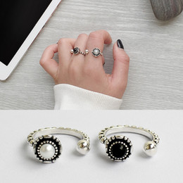 Wholesale Pure Stone Silver Ring - wholesale  Pure 925 Sterling Silver Retro Black Stone White Pearl Open Ring For Women Adjustable Fashion Jewelry
