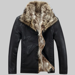 50bee80a985 Fall-Winter Clothing Leather Mens Jacket Men s raccoon Fur Coat Fur Lined  Leather Jacket Mens Sheepskin Coats Plus Size M-5XL