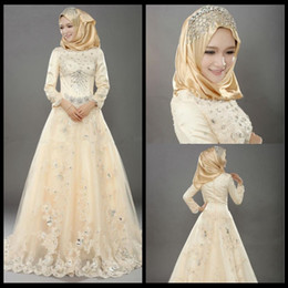 Wholesale Champagne Lace High Neck Dresses - Muslim Wedding Dresses Indian Style Vintage Tulle Bridal Dresses With Lace Applique Crystal Beads Long Sleeve Islamic Wedding Dresses