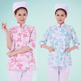 Wholesale Medical Scrubs Uniforms - Women Middle Sleeves Comfortable and Breathable Natural Uniforms Medical Hospital Nursing Printed Scrub Tops medical suit