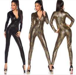 Wholesale Leather Jumpsuits For Women - Sexy Jumpsuit For Women Vinyl Leather Jumpsuit Hot Sale New Fashion 3 Color Sexy Leather Bodysuit top sale free shipping