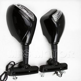 Wholesale Motorcycle Black Signal Lights - Motorcycle Turn Signal Yellow LED lights Mirrors For Honda CBR 600 F4 900 929 954 CBR1000 Black