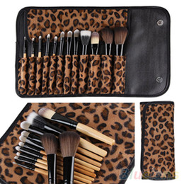 Wholesale Leopard Bags Wholesale - 12pcs per Set Women Pro Makeup Brush Set Cosmetic Tool Leopard Bag Beauty Brushes Kit By DHL #71701