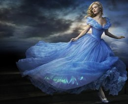 Wholesale Princess Prom Puffy Dress - Cinderella Prom Dresses 2015 Movie Ball Gown Organza Off Shoulder Floor-Length Backless Puffy Skirt Butterfly Princess Blue Evening Dresses