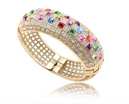 Wholesale Tin Rose Jewelry Box - Luxury Rose Gold Plated Chain Bracelet for Women Colorful AAA Swiss Cubic Zircon Crystal Jewelry S-009