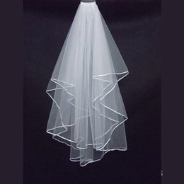 Wholesale Cheap Blusher Veils - Cheap Two Layers Wedding Veils with Comb White Ivory Satin Edge Satin Edge Two Layer Wedding Accessory Bridal Veils 2018