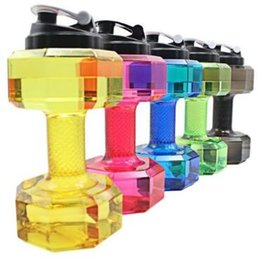 Wholesale Large Plastic Lid - 2.2L Dumbbells Shaped Plastic Big Large Capacity Gym Sports Water Bottle Outdoor Fitness Bicycle Bike Camping Cycling Kettle CCA8213 100pcs