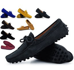 Wholesale Mens Loafer Shoes Moccasins - Mens Summer Genuine Leather Suede Breathable Moccasins Driving Shoes Loafer Shoes 11 Colors