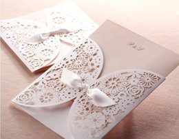 Wholesale Card Cut Out - Creative Hollow Lace Cut-out Wedding Invitation With Bowknot Free Customized Wedding Party laser invitation cards Printable Free Shipping