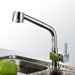 Wholesale Contemporary Waterfall Bathroom Sink Faucet - chrome pull out.Single Handle polished Chrome solid Brass Waterfall faucet. square kitchen Bathroom basin Sink Faucet