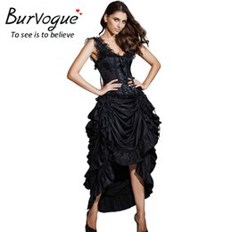 Wholesale Women Victorian Skirt - Burvogue Women Satin Fashion Skirt Irregular Long Gothic Skirt Steampunk Victorian Skirts Lace-up Maxi Ruffled Corset Skirts