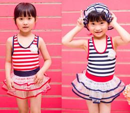 Wholesale Sailor Baby Girl - 1-6years children baby swimsuit kids lace swimsuit girl stripes swimsuit one piece kid stripe swimsuit swimwear tankini tutu sailor swimsuit