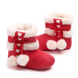 Wholesale Christmas Baby Boots Shoes - Christmas Baby Girls First Walkers Cotton Shoes Keep Warm Good Quality Cute Lovely Infant Girl Boots
