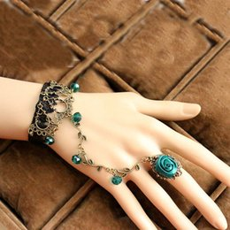 Wholesale Crystal Party Gloves - Vintage Lace Flower Charm Bracelet With Finger Ring Bridal Marriage Jewelry Wristband bronze Bridal Gloves women statement jewelry 160045