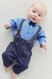 Wholesale Cute Baby Suits For Boys - Infant Gentle Clothing Set For 2015 Winter Hot Baby Boys Plaid Shirt + Bib 2Pcs Suit Cute Kids Suit Fit 0-3 Age 70-95 SS630