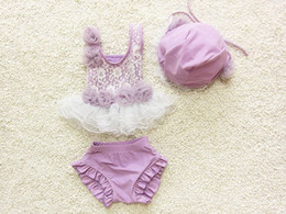 Wholesale Korean Swimsuits - Toddle beach Swimwear korean fashion lace children swimsuit sweet applique with lace baby girls two-piece bathing suit 6set lot 1-8age ab900