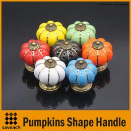 Wholesale Wholesale Cupboard Handle - 7 Colors Pumpkins Kitchen Cabinets Knobs Bedroom Cupboard Drawers Ceramic Door Pull Handles With Screws 4*4*4 cm