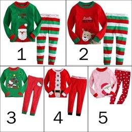 Wholesale white christmas deers - Christmas kids sleepwear boys suits girls cotton deer stripe tops pants pajamas santas little helper sleepwear sets