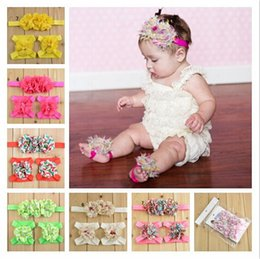 Wholesale Pearl Socks - Newborn Pearl Chiffon headbands Baby Girls Barefoot Socks Sandals and headband Set Shoes Kids Tulle Foot Ornaments Child Infant Flower Socks