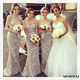 Wholesale Lavender Dresses For Juniors - 2016 Full Lace Mermaid Long Bridesmaid Dresses Cheap Custom Made Sweetheart Wedding Party Gowns For Girls Junior Prom Dresses BO4489