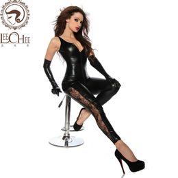 trajes femininos cômicos Desconto Nova Leechee Y015 Senhora Sexy Lingerie PU Couro Apertado Um tamanho SM Uniforme Preto Fino Corpo Zip Unneck Poliéster De Cetim terno do corpo
