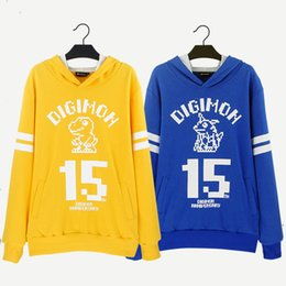 Wholesale Digimon Cosplay - Digimon Adventure Digivice Ver.15th Blue Black hoodie Coat Outfit ToP Cosplay Coat Jacket Dress Halloween Christmas Gift