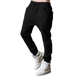 Wholesale Baggy Black Pants - S5Q Mens Casual Loose Harem Baggy Jogger Hip-hop Dance Sportswear Trousers Pants AAAEXX