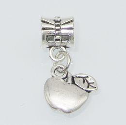Wholesale Slide Charms Apple - Apple charms pendant Big hole antique alloy metal DIY jewelry accessories 50pcs lot SP200 for bracelet and necklace