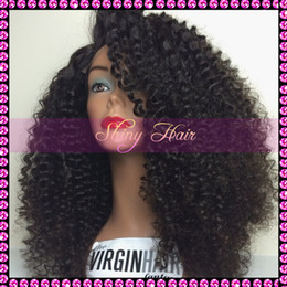 Wholesale Kinky Lace Front Wigs Stock - Brazilian Virgin Hair Kinky Curly Human Hair Glueless Lace Front Wig For Black Women #1b 8-24'' in stock 150% density