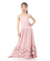 Wholesale Dress Ruffle Hem - Girls long drss new children lace fly sleeve pink falbala big hem long dress kids vest princess dress children floor-length dress A7902