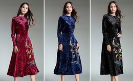 Wholesale Wool Colours - 2017 girls and ladys fashion embroidery golden silk wool dress,3 colours five size new trending high quality dresses of women