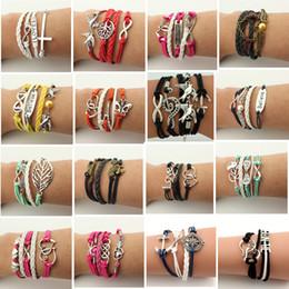 Wholesale Infinity Love Birds - 2016 Hot Selling Infinity Bracelet Leather Bracelets Antique Cross Anchor Love Peach Heart Owl Bird Believe Pearl Charm Bracelets DHL Free