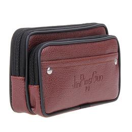 Wholesale Mobile Phone Belt Holders - Wholesale- New Men Waist Pack Bags PU Leather Small Belt Wallets Phone Holder Men Wallets Black Brown Purse Travel Mobile Phone Wallet
