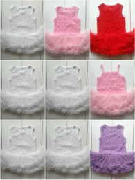 Wholesale Baby Girl One Strap Dress - 10 colors 0-2T Baby Rose Flower Lace Romper Tulle Dress Sleeveless Straps Solid Teddy Suit Set Toddler Girl Clothes One-Piece baby Clothes