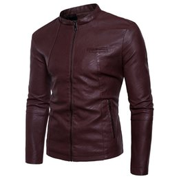 Wholesale Men Red Leather Sleeve Jacket - 2018 New Collar autumn winters is recreational the big yards thickening collar men men's leather coat jacket