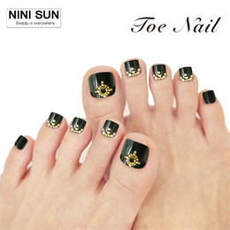 Wholesale Fake Nails Toes - Wholesale- 24pcs lot Fake Nails Super Invincible Beautiful Summer Toenails False Nial For Foot Nail Manicure Black Foot False Nail Beauty