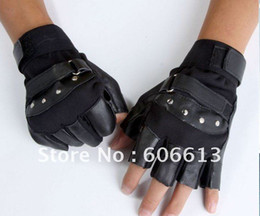 Wholesale Leather Fingerless Bicycle Gloves - Wholesale-Free Shipping New Arrival Bicycle Leather+Rivet Half Finger Gloves For Man,Boy's sport gloves 3Colors Available 6Pairs Lot