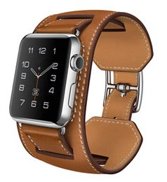 Wholesale Leather Band Bracelets Wholesale - 1:1 Original Design Cuff Bracelet Real Genuine Leather Band For Apple Watch Band Pad Wrist Strap For iWatch With Adapters Sports Band