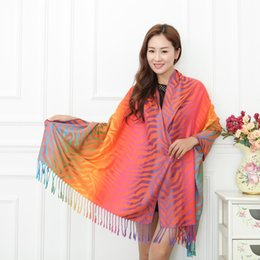 Wholesale Colorful Cotton Gloves - Wholesale-2015 Hot Autumn Colorful Zebra Cotton Silk Scarf Super Long 200*70