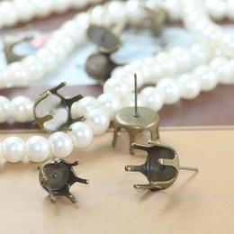 Wholesale Earrings Blank Stud - (20 pcs lot )10mm  12mm crown claw setting stud earring blanks,copper plated earring blanks settings jewelry findings cy374
