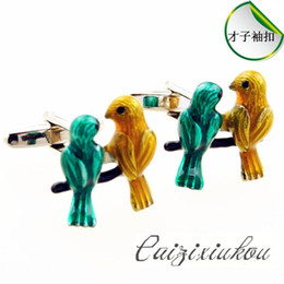 Wholesale Male Steel Cuffs - FCFun wit animal cufflinks two love birds color duck male Ms. French cufflinks cufflinks Cufflinks Wholesale high quality low price