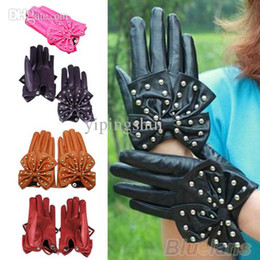 Wholesale Leather Motorcycle Gloves For Women - Wholesale-Winter Motorcycle LADY Rivets Butterfly Bow Soft PU Leather Gloves for Women 4 Colors M L 09RX