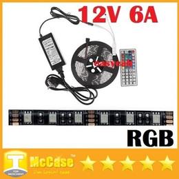 Wholesale Led Pcb Remote Control - Black PCB 5050 RGB Led Lights Strip Waterproof 12V 5M Kit + 44key Remote Control + 12V 6A Power Drivers US EU UK AU Plug