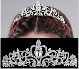 Wholesale Beautiful Hair Bows - Beautiful Pearl Princess Tiara Crown Elegant Wedding Bridal Crown Rhinestone Crystal Tiara Pageant Prom Hair Headband