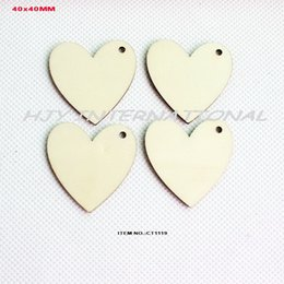 Wholesale Wholesale Unfinished Wood Crafts - Wholesale-(120pcs lot) 1 Hole unfinished natural wooden heart love cutout rustic crafts wood wedding key chain ornaments -CT1119