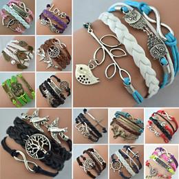 Wholesale Infinity Rudder Anchor Charm Bracelets - Hot Sale Infinity bracelet Womens Fashion Vintage Anchors Rudder Rectangle Leather Bracelet Multilayer Bracelets Z27 G26